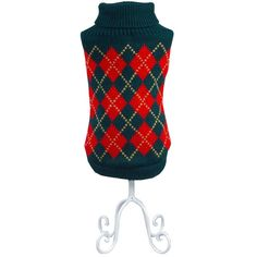 Bolbove Pet Argyle Knitted Turtleneck Sweater for Small Dogs and Cats Knitwear Cold Weather Outfit -- Check out the image by visiting the link.