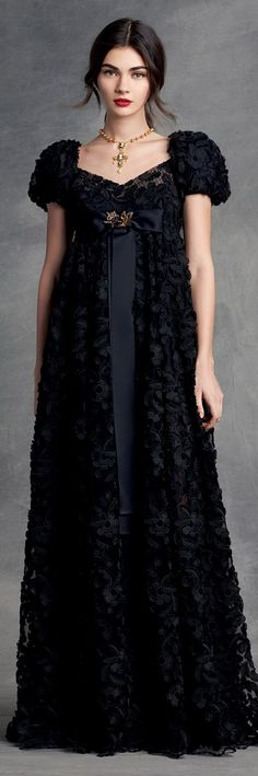 Dolce & Gabbana Women's Clothing Collection Winter 2016. There are very strong Regency influences in this gown; it could almost be a mourning gown from 200 years ago