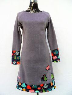 Langarm Kleid Apfel Apple Fleece Jersey grau bunt von Zellmann Fashion auf DaWanda.com