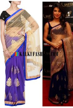 Buy Online from the link below. We ship worldwide (Free Shipping over US$100) http://www.kalkifashion.com/half-and-half-saree-in-beige-and-blue-with-zari-butti.html Half and half saree in beige and blue with zari butti