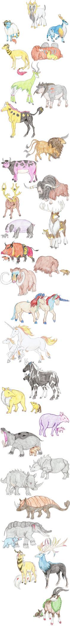 Hoofed Pokemon by DragonlordRynn on deviantART (Not all of them have hooves, but. Pokemon Fan Art, Cute Pokemon, Pokemon Go, Pokemon Stuff, Pokemon Na Vida Real, Pokemon In Real Life, Pokemon Fusion, Pokemon Pictures, Fantasy Creatures
