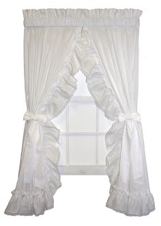 Madelyn Victorian Ruffled Priscilla Window Curtains with Lace Edging and Bow Tie Backs - Window Toppers Ruffle Curtains, Black Curtains, Window Curtains, Priscilla Curtains, Cottage Curtains, Window Toppers, Save For House, Curtain Styles, Curtain Tie Backs