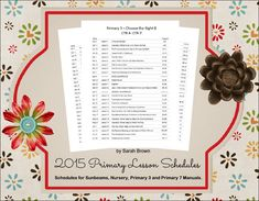 2015 Primary Lesson Schedules -- editable word docs