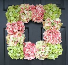 Hot glue hydrangeas - or any flower - onto a Dollar Tree frame for a beautiful & cheap wreath!