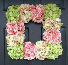 Hot glue hydrangeas - or any flower - onto a Dollar Tree frame for a beautiful & cheap wreath!