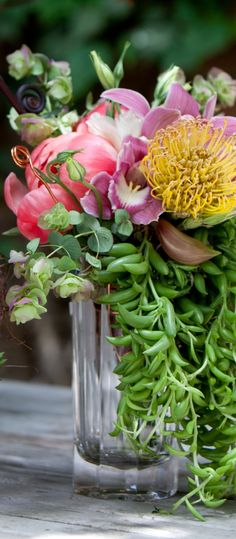 Succulents mixed with flowers ~True Florette, Holly Chapple Designer