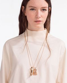 COLLAR CUERNO METALICO Zara United States, Ss16, Daily Fashion, Horns, Women Accessories, Metallic, Gold Necklace, Style Inspiration, Bestfriends