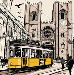Typical tramway in Lisbon near Se cathedral - Vector illustration