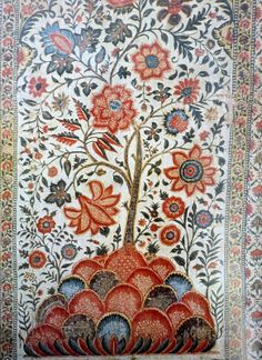 Indian painted tree of life fabric - palampore bedding.