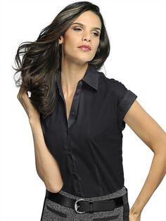 Bluse mit überschnittenen Ärmeln mit Aufschlag. Figurumspielende Form, Länge in Gr. 38 ca. 62 cm. Obermaterial: 73% Baumwolle, 25% Polyamid, 2% Elasthan, waschbar...