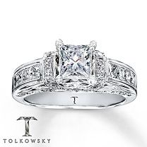Tolkowsky® 14K White Gold 1 3/8 Carat t.w.Very beautiful ring but would be better if it were emerald cut!