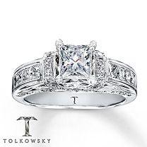 Tolkowsky® 14K White Gold 1 3/8 Carat t.w. Diamond Ring. Pretty <3