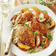Basil-Peach Chicken Breasts Recipe