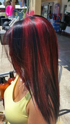 Pink-Red with Yellow Highlights - 20 Cool Styles with Bright Red Hair Color (Updated for - The Trending Hairstyle Bright Red Hair, Ombre Hair Color, Cool Hair Color, Short Red Hair, Red Black Hair, Brown Ombre Hair, Beautiful Red Hair, Hair Highlights, Black Hair With Red Highlights