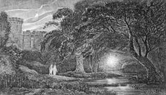 """Ignis fatuus (medieval latin: """"foolish fire""""), commonly known as will-o'-the-wisp, is an atmospheric ghost light seen by travelers at night, especially over bogs, swamps or marshes. It resembles a flickering lamp and is said to recede if approached, drawing travelers from the safe paths. In European folklore, these lights are held to be either mischievous spirits of the dead, or other supernatural beings or spirits such as fairies, attempting to lead travelers astray."""