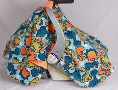 Boys Baby Car Seat Cover with Dinosaurs All Over Baby Shower Gift Infant Car Seat Canopies Baby Car Seat Cover Baby Shower Gift (38.95 USD) by JoyfulBundles