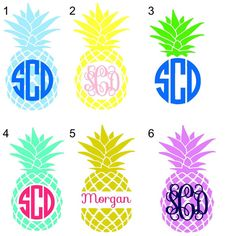 Pineapple Monogram Decal by OverTheTopOccasions on Etsy