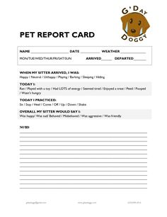 Simple, clean, classic Dog Pet Sitting Report Card - CUSTOMIZABLE ...