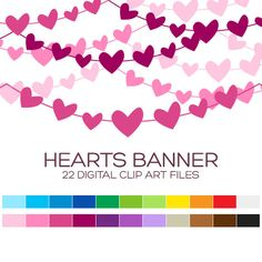Heart Pennant Banner Clipart for Personal & Commercial Usage - 22 digital garlands / 6x1 inches - A80020