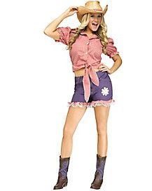 This sexy Daisy Duke costume for women includes a tie-front top, shorts, and hat.The Daisy Duke costume comes in adult sizes Medium/Large, Small/Medium.This Daisy Duke costume is an officially licensed The Dukes of Hazard costume. Spirit Halloween Costumes, Adult Costumes, Costumes For Women, Aztec Sweater, Sweater Scarf, Cowgirl Hats, Daisy Dukes, Discount Clothing, Front Tie Top