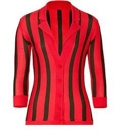 d4a24e0d452 L WREN SCOTT Coral Olive Striped Cashmere Cardigan- love the style hate the  colors