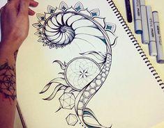 Fibonacci and sacred geometry tattoo design