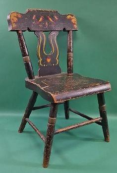 Vintage Folk Art Child\'s Wooden Stenciled Chair