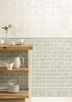 If you want to incorporate metro tiles into a traditional kitchen consider opting for more muted tones and subtle grout work. Deep creams and mint green tones are lovely options and a pearlescent finish like this will reflect light too. Küchen Design, Tile Design, Interior Design, Design Ideas, Green Kitchen, Dad's Kitchen, Rooster Kitchen, Kitchen Ideas, Cuisines Design