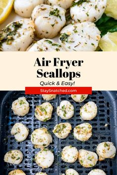 These Easy Air Fryer Scallops are cooked to perfection and seasoned with a lemon herb butter and olive oil sauce. Feel free to use sea or bay scallops and either fresh or frozen in this recipe. Air Fry Recipes, Air Fryer Dinner Recipes, Healthy Recipes, Easy Weeknight Dinners, Quick Easy Meals, Shrimp Recipes, Appetizer Recipes, Frozen Scallops, Lemon Herb
