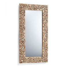 Fun with mirrors: an absolutely unique wood frame gives our Graham Wood Mirror the feeling of a specially crafted collectible piece. Sliced wood is used to create the almost graphic appearance of the frame while giving it incredible texture. The variety, size, and color of wood pieces vary with each mirror, making each frame a one-of-kind piece. The size and design makes this a bolder wall accent formed of beautiful natural elements. The look stands up to strong modern décor, or rustic chic…