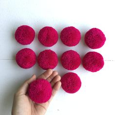 10 Fuchsia 2 cotton yarn Big Pom Pom Hmong hill by moonshinecotton