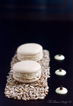 Sunflower Seed Macarons with Black Truffle Salted White Chocolate Ganache