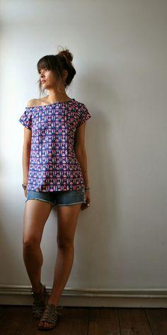 Les Trucs de Tatihou : Top Maya  modèle 113A du Burda de juillet 2011 (tissu viscose anna ka bazaar)