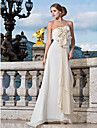 Sheath/Column Strapless Floor-length Chiffon Evening Dress With Flower(s) And Draping - USD $ 149.99