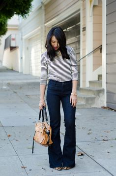 Stripes, Wide leg denim via @Somayeh Mohamady Karimi Jeans & @Jeweliq