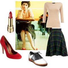 Audrey Horne in Twin Peaks Rose pink with dk green/navy plaid