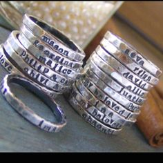 I have been wanting a ring with each childs name on it.