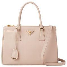 6d60a0c22086 Galleria Double Zip Small Saffiano Leather Tote Tan Tote Bag