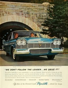 This is an original 1957 color print ad for the Plymouth, a Division of the Chrysler Corporation. This ad features an image of the 1957 Plymouth Belvedere autom