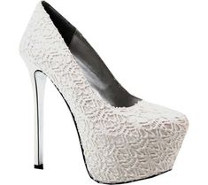 Women's Luichiny My Pleasure Platform Pump - White/Silver Lace with FREE Shipping & Exchanges. Find your inner bliss in the stunning Luichiny My Pleasure Platform Pump. This shimmering heel
