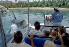 A mechanical shark threatens a boat in the Jaws ride at Universal Studios shortly after the park's opening in June 1990.