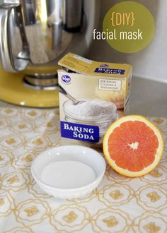 DIY: Facial Mask 1 TBS of juice from an orange 1 TBS of baking soda 1. Mix together until it looks pasty. (can be surprisingly) 2. Use a clean makeup brush to apply a thin layer all over your face 3. Leave 15-20 minutes 4. Gently scrub with fingertips to exfoliate 5. Rinse with warm water and washcloth as needed.