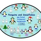 This is a Zip file containing 15 penguins and 6 snowflakes clip art. All clip art is in png format with transparent backgrounds. These images c...