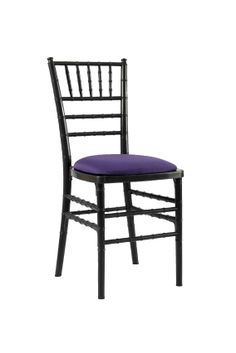 Black Chivari with Purple Seat Pad, Our Black Chivari chair is a modern design stackable eco-friendly resin chair, shown here with a Purple seat pad but is also available in various coloured seat pads.  http://www.eventhireonline.co.uk/chairs/chivari