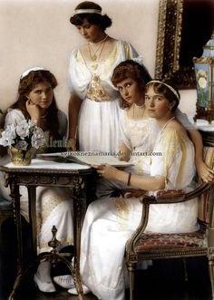The innocent sisters in a formal portrait in 1914, not knowing the horror that lay ahead.  Seated:  Grand Duchesses Marie, Anastasia, and Olga.  Standing:  Grand Duchess Tatiana.