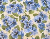 "20% OFF Flower SALE- Cotton Fabric,Blue Pansies, ""Lovely"" by Debbie Beaves for RJR Fabrics, Home Decor,Clothing,Quilt, Cotton Fabric, Beauti"