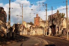Oradour-sur-Glane, a french city taken over in world war ll, left in it's ruined state from 1944.  Tours welcomed though you're asked to remain in silence as you walk the streets of this kept memorial.