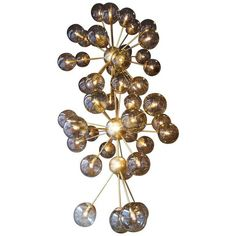 Very Large Murano Chandelier With Smoke Grey Sphere Glass (802.870 RUB) ❤ liked on Polyvore featuring home, lighting, ceiling lights, chandeliers, grey, glass ceiling lights, murano glass lamp, murano glass lighting, glass sphere chandelier and glass chandelier lighting