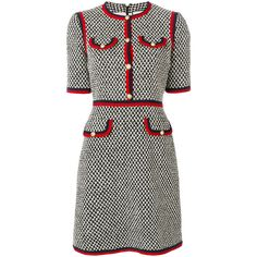Gucci tweed dress (8.504.030 COP) ❤ liked on Polyvore featuring dresses, grey, gucci, black, round neck dress, zip back dress, short gray dress, tweed dress and short grey dress