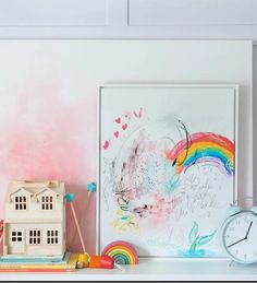 "Lindsay Letters® art for kids' spaces. ""Rainbow Daydreams"" features rainbows and mermaids. This is what I imagine my daughter's dreams would look like!"